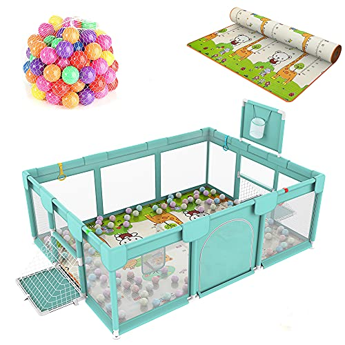 Baby Playpen Large Playpen, with Anti-Slip Suckers,Sturdy Babies Playpen,Indoor Baby Play Yard,Extra Large Baby Playard,with Parklon and 50 Ocean Balls.
