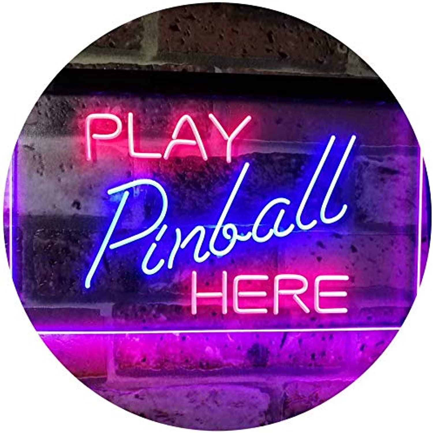 ADVPRO Pinball Room Play Here Display Game Man Cave Décor Dual Farbe LED Barlicht Neonlicht Lichtwerbung Neon Sign rot & Blau 400mm x 300mm st6s43-i2619-rb