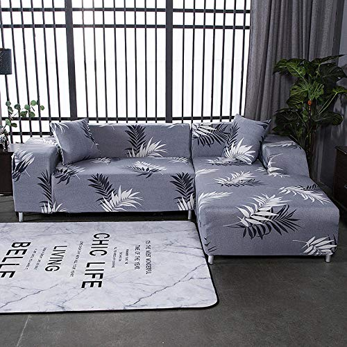 Funda Elástica para Sofá Cubierta del sofá Funda de sofá Funda elástica Protectora para sofá Planta Tropical en Blanco y Negro Hojas de Material de poliéster Viene con 3 Fundas de Almohada