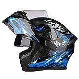 JIAND Casco Integral de Motocicleta, Casco Modular con Lente HD antiniebla (Negro Azul 54-64 cm),XXXL(63~64cm)