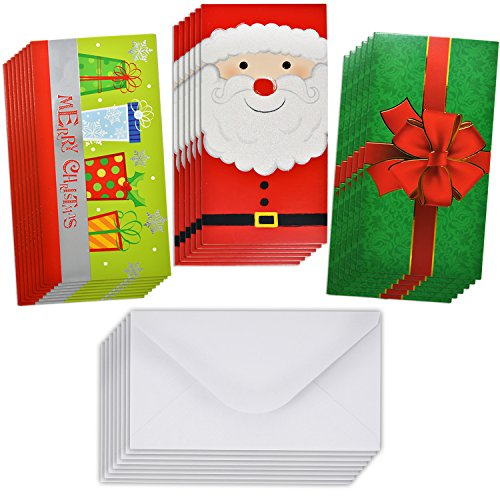 24 Christmas Card Gift Holder - Christmas Money Holder - Christmas Greeting Cards with Envelopes Bulk Assorted in 3 Holiday Cute Festive Designs with Glitter and Foil Winter Holiday Cards Box Set