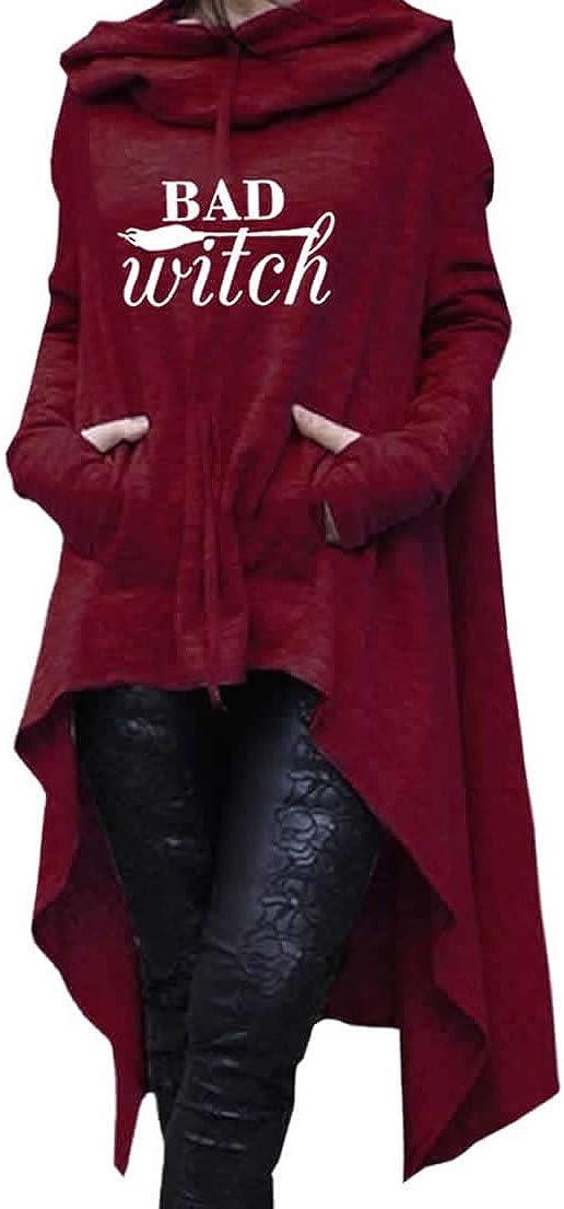 Dropeon Women's Bad Witch Halloween Pullover Long Hoodie Irregular Hem Loose Tunic Sweatshirts