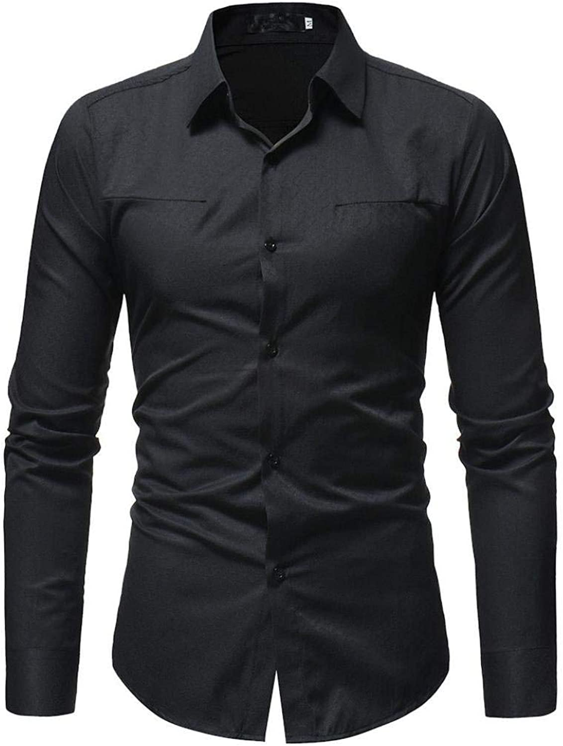 Men Shirt Style White Solid color Male Casual Long Sleeve Casual Business Cool Workplace Comfort Slim Fit Shirt