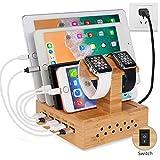 Yisen Handy Ausholz Bambus USB Ladestation, Universell Ladegerät Dockingstation,DIY Assemble Organizer Holder für Apple iWatch/iPhone/iPad/Cellphone/Tablets(PAL Power Kable)