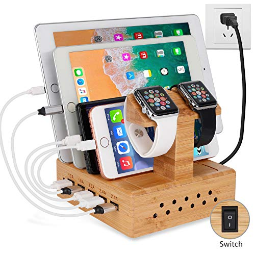 Yisen Handy Ausholz Bambus USB Ladestation, Universell Ladegerät Dockingstation,DIY Assemble Organizer Holder für Apple iWatch/iPhone/iPad/Cellphone/Tablets/E-Reader/Power Bank