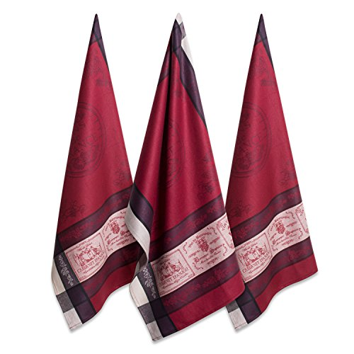 DII Jacquard Dishtowels French Style Tabletop Collection, 3, Vins De France 3 Count