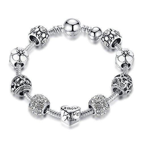 ATE Bracciale Charms Cristalli Beads Smalto Cuore Ciondoli Regalo JWB171-WH (Bianco-18cm)