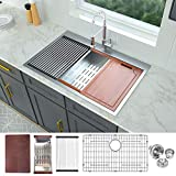 33 Drop In Kitchen Sink - Logmey 33X22 Stainless Steel Drop In Sink Ledge Workstation Topmount...