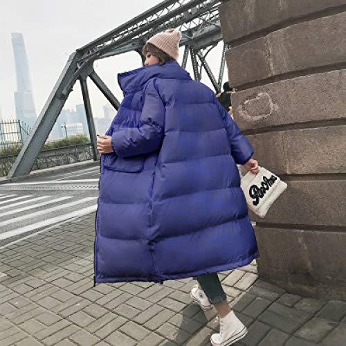 Daunenjacke Koreanischer Herbst Wintermantel Dicker Warmer Mantel Damen Slim Long Loose Cotton Daunenjacke Stehkragen Cotton Parkas Jacke S Blau