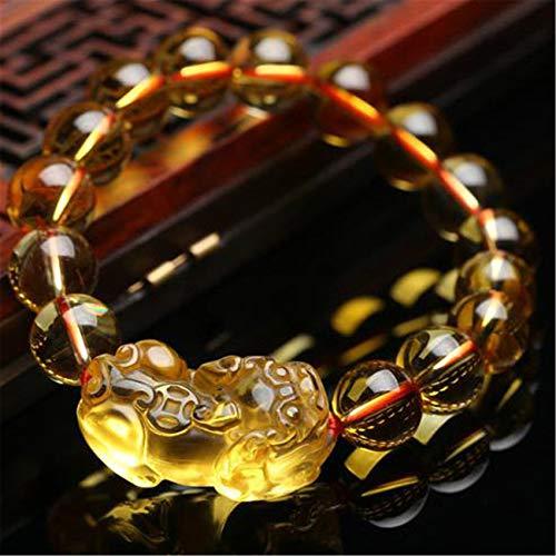 WCOCOW Feng Shui Riqueza Amuleto Pulsera Natural Amarillo Cuarzo Cristal Pixiu Pulsera Abalorios Estiramiento Pulsera Mano Tallado Cuentas Talisman por Prosperidad Dinero Buena Suerte,10MM