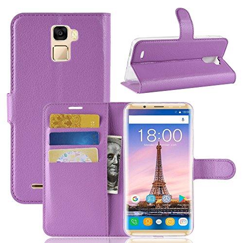 TenYll Oukitel K5000 Wallet Tasche Hülle, PU Schutzhülle [Premium Leder] [Ultra Slim] [Card Slot] [Ständer] Flip Wallet Case Etui für Oukitel K5000 -Lila