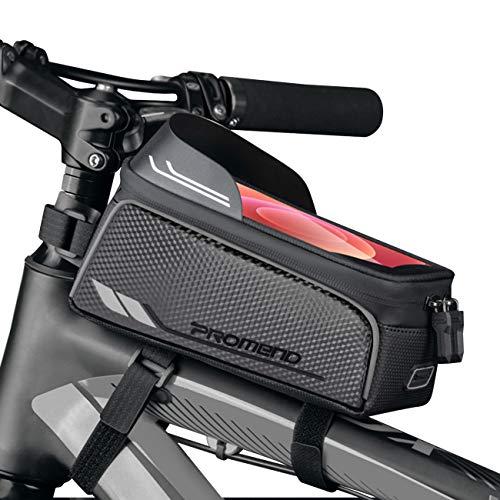 BTNEEU Bolsa Bicicleta Cuadro Impermeable Bolsa Movil Bicicleta Montaña con Parasol y Pantalla Táctil, Bolsa de Cuadro Bolsa Soporte Movil Bicicleta para Smartphones de hasta 6,8 Pulgada (Gris)