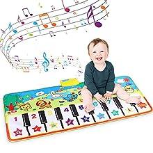 RenFox Alfombra de Piano, Alfombra Musical de Teclado, Alfombra Piano de Animales para Niños Niñas, Alfombrilla Musical Juguete Estera deTeclado Táctil para Niños(135 x60cm)