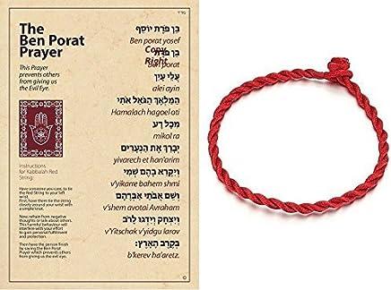 Good Luck Red String & Ben Porat Laminated Prayer Against Evil Eye Bracelet