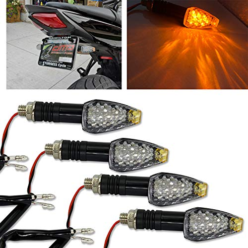 TORIBIO Universal Motorcycle Motorbike LED Turn Signal Lights Blinker Front Indicator Lights for Motorbike Harley Cruiser Honda Kawasaki BMW Yamaha Suzuki (Amber 4 Pcs)