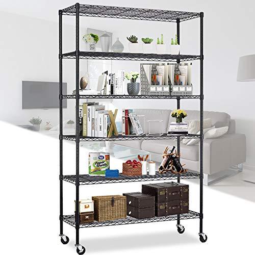 Storage Shelves 6 Tier Wire Shelving Unit with Wheels Heavy Duty Metal Shelf Garage Rack Adjustable Steel Wire Shelf Utility Storage Rack with Casters, NSF-Certified (48'x 18'x 82', Black)