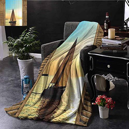 GGACEN Warm deken Zeilboten in Scenic Sunset door Houten raamkozijnen Binnen/buiten, Comfortabel voor alle seizoenen 50