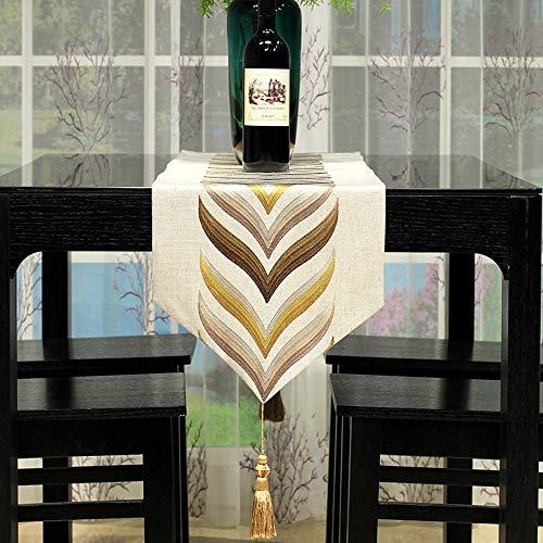 YDDZ Hennep Geborduurde Tafelloper, Eenvoudige Gevlochten Tafelkleed, Beige, Huisdecoratie Voor Restaurant | Eettafel | Bruiloft | Diner ++