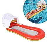 Wuudi Luftmatratze Hängematte, Luftmatratze mit Kopfpolster und Netz Sonnenliege Schwimmmatratze Matratze Wasser Pool Schwimmen (Orange)