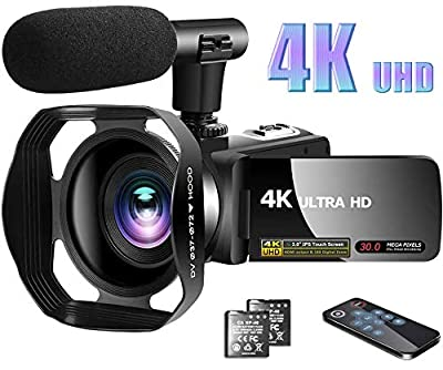 "Video Camera 4K Camcorder with Microphone Vlogging Camera YouTube Camera Recorder Ultra HD 30MP 3.0"" IPS Touch Screen with Lens Hood & 2 Batteries by LINNSE"