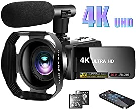 """Video Camera 4K Camcorder with Microphone Vlogging Camera YouTube Camera Recorder Ultra HD 30MP 3.0"""" IPS Touch Screen with Lens Hood & 2 Batteries"""