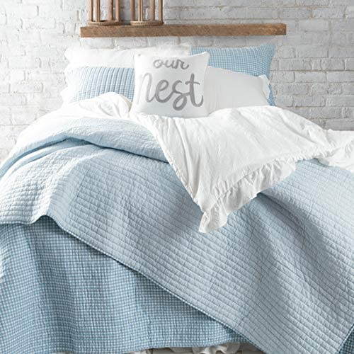 Country Grace Blue And White Bedding Quilt With Farmhouse Charm Reverses To A White And Blue Stripe To Switch Up Your Look King Home Kitchen