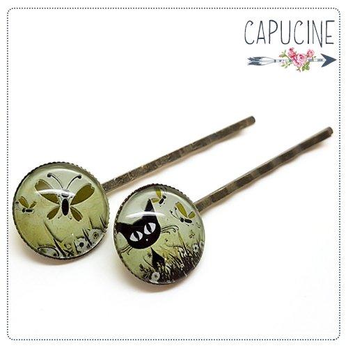 2 pinces bronze cabochons verre chaton - pinces cheveux cabochon - Barrettes cheveux illustrées - Ballade Champêtre