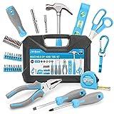 Juego de herramientas manuales de bricolaje para el hogar de 42 piezas de alta calidad. Reparaciones diarias en el hogar y la oficina con herramientas prácticas. Todo en un estuche de transporte