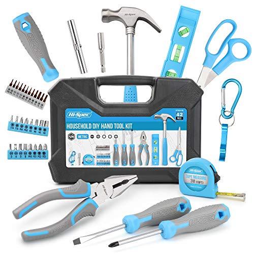 Juego de herramientas manuales de bricolaje azul para el hogar de 42 piezas de alta calidad. Reparaciones diarias en el hogar y la oficina con herramientas prácticas. Todo en un estuche de transporte