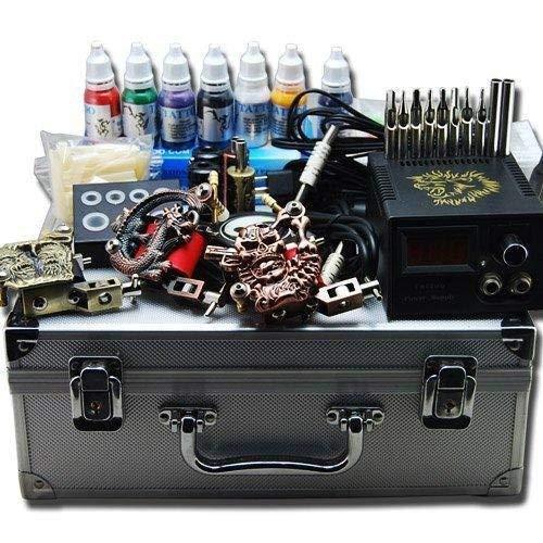 Máquina de tatuaje Tattoo Kit completo para tatuaje, pistola de alimentación con caja