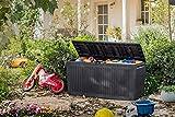 Auflagenbox / Kissenbox Koll Living 270 Liter Farbe : GRAPHIT l 100% Wasserdicht l mit Belüftung dadurch kein übler Geruch / Schimmel l Moderne Holzoptik l Deckel belastbar bis 250 KG ( 2 Personen ) - 2