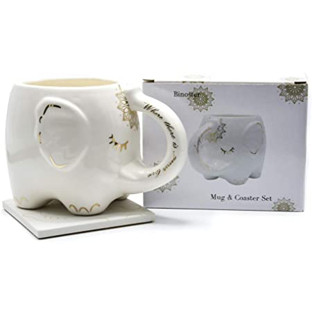 Elephant Coffee Mug White Ceramic Tea Mugs with Hand Printed Designs and Printed Saying Great Gift Large Handmade Cup With Coaster