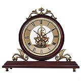 Calidad silenciosa Reloj de chimenea de madera creativo Reloj de cuarzo retro Imitación Movimiento mecánico Movimiento de perspectiva hueca La fuente de alimentación de la batería se puede colocar en