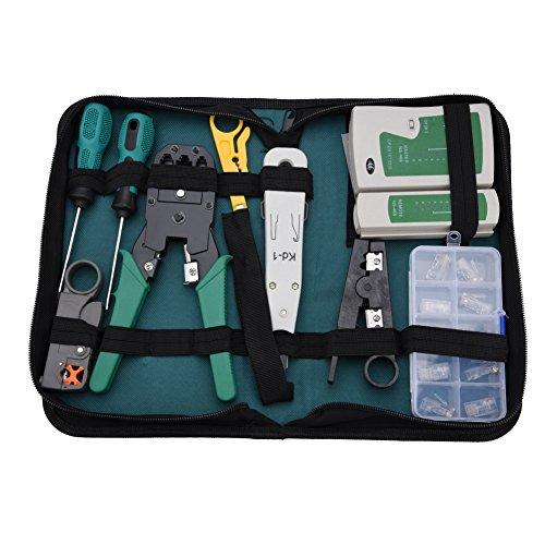 Mugast Netzwerk Reparaturwerkzeuge,11 in 1 Netzwerk Werkzeug Set Netzwerk Kabeltester Kit Patchkabel-Tester,Tragbar LAN Network Tool Kit RJ11 RJ45 Kabeltester mit Aufbewahrungsbox Set