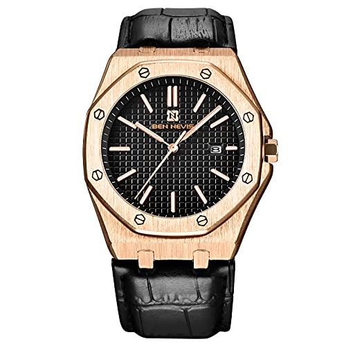 RORIOS Hombre Relojes Impermeable Cuarzo Analógico Reloj con Correa en Cuero Deportivos Calendario Reloj Negocios Relojes de Pulsera
