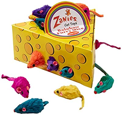 Zanies Rainbow Mice Cat Toys in Cheese Wedge Display Box, 60 Count