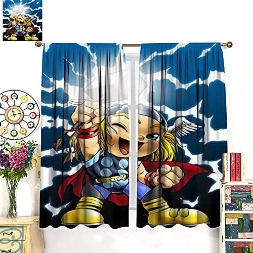 DRAGON VINES Cool Curtains Super Hero Cute Thor - Cortinas decorativas modernas para habitación infantil (183 x 160 cm)