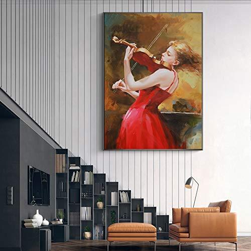 KWzEQ Imprimir en Lienzo Violin Girl Posters and Pictures decoración de la Pared para la Sala de Estar de su casa40x50cmPintura sin Marco
