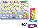Laminated Educational Placemat for Kids: Time to Tell Time Table Mat with Telling Time Pocket Flash Cards   Set of 2 Items