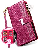 iPhone 11 Case Wallet for Women with Card Holder,Vodico Girly Glitter Sparkly Bling Leather Zipper Pocket Full Body Shockproof Magnetic Flip Folio Folding Stand Purse with Strap for Girls (Rose)