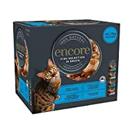 ENCORE 100% Natural Wet Cat Food, Multipack Fish Selection in Broth 4x 10 x 70 gPouch (Total 40 Pou...