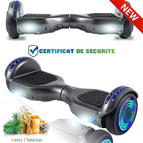 CHIC Elegante Bilancia da 6,5 Pollici, Scooter Elettrico Autobilanciante, Ruote da Skateboard con Luce a LED, Motore 700 W Bluetooth per Bambini e Adulti - Grigio