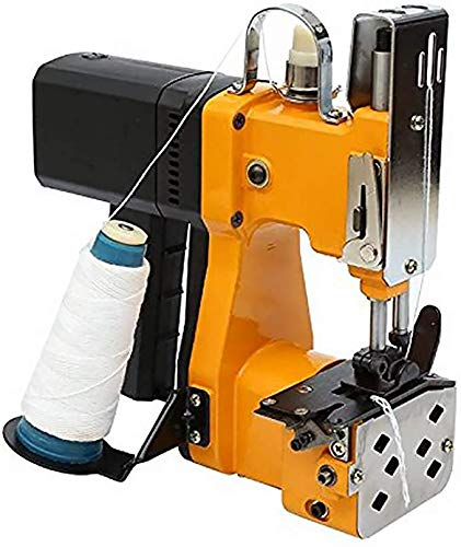 Máquina de coser portátil TOPQSC máquina de coser, máquina de cierre de bolsa, máquina de cierre de bolsa de tejer eléctrica Stitcher para bolsa tejida en piel de serpiente (amarillo)