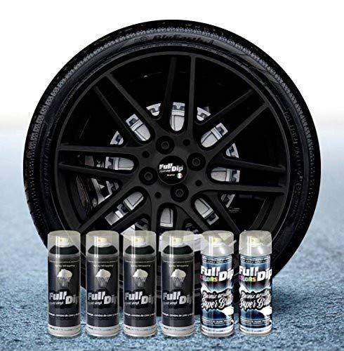 Sophisticauto Full Dip Packs Ahorro Llantas 6 Sprays Negro Metalizado Brillo