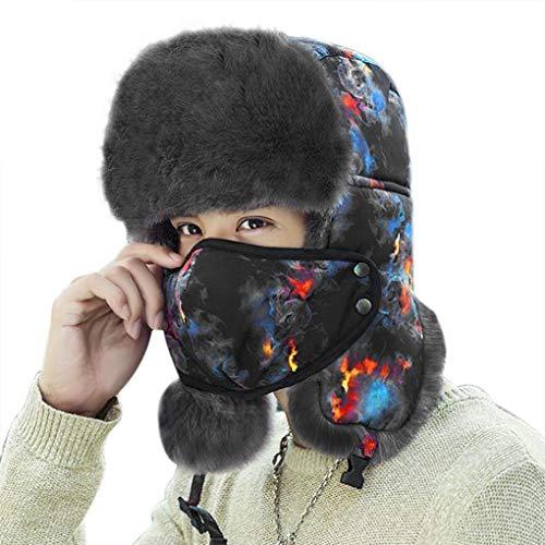 Hombres Mujeres 3 en 1 Térmico Trapper Trooper Sombrero con Earflap Face Cover Cuello Calentador al aire libre a prueba de viento Snowproof Ciclismo Cap Felpa Forrado Bomber Cap Ushanka Rusia Sombrer