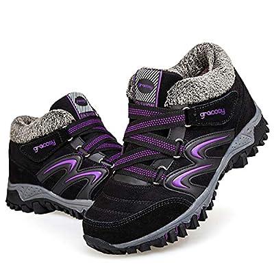 gracosy Women's Hiking Shoes, High Top Sneaker Winter Warm Hook Loop Snow Shoes Fur Lining Suede Ankle Bootie Black+Purple 9 M US