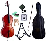 D'Luca MC100-4/4 Meister Student Cello 4/4 Package with Free Stand, Bag,...