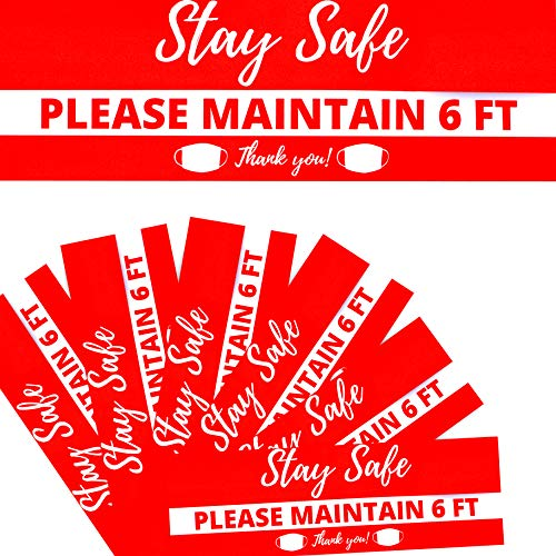 Social Distancing Stickers | 12'x 4' Keep 6 feet Apart Distance Decals | Vinyl 6ft Apart Covid 19 Signage| Rectangle Face Mask Sign | Floor Wall Glass Safety Red Marker | 6 Pack