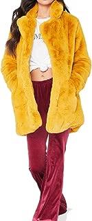 Energy Women's Solid Warm Open-Front Velvet Stand Collar Mid-Long Coat Jacket