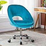 Goujxcy Home Office Chair, Modern Teal Velvet Desk Chair,360° Swivel Computer Chair, Upholstered Adjustable Swivel Accent Chair Cute Desk Chair Task Chair for Office, Living Room, Bed Room